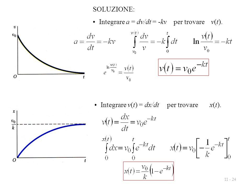 11 - 24 SOLUZIONE: Integrare a = dv/dt = -kv per trovare v(t). Integrare v(t) = dx/dt per trovare x(t).