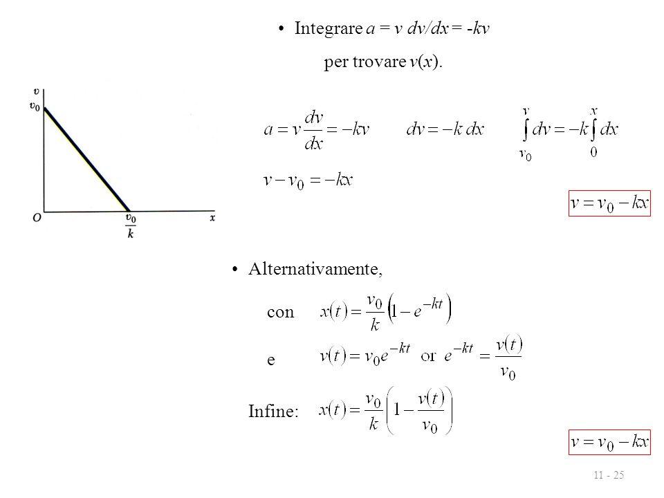11 - 25 Integrare a = v dv/dx = -kv per trovare v(x). Alternativamente, con e Infine: