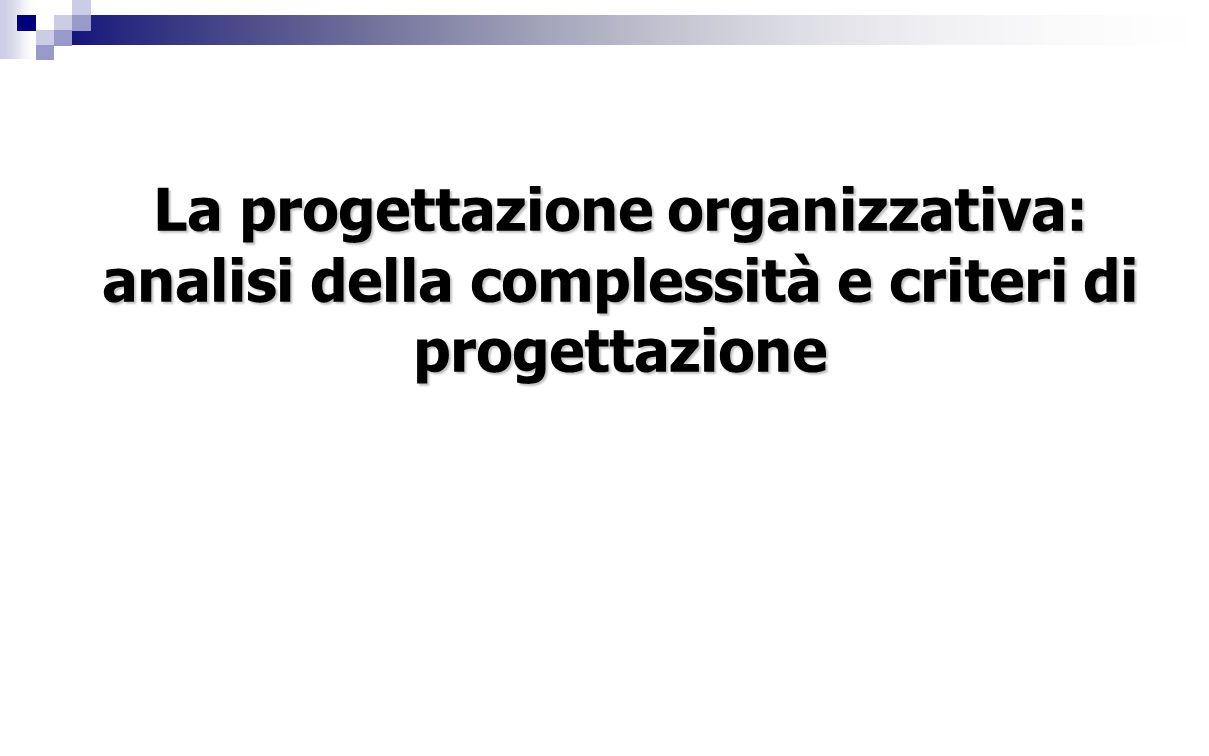 Approccio alla progettazione organizzativa Un valido approccio alla progettazione organizzativa comporta che si valutino attentamente gli elementi di criticità che derivano:  dall'articolazione delle combinazioni aziendali  dalle condizioni ambientali prescindendo dall'assetto organizzativo già in atto