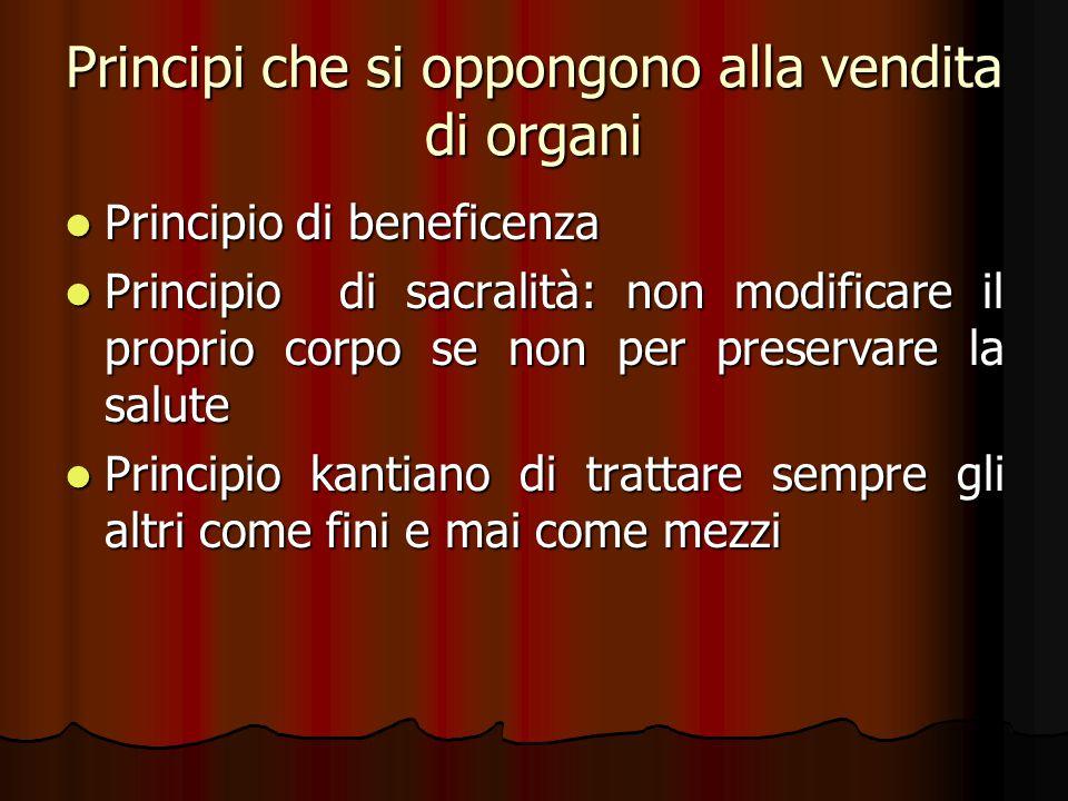 Principi che si oppongono alla vendita di organi Principio di beneficenza Principio di beneficenza Principio di sacralità: non modificare il proprio c