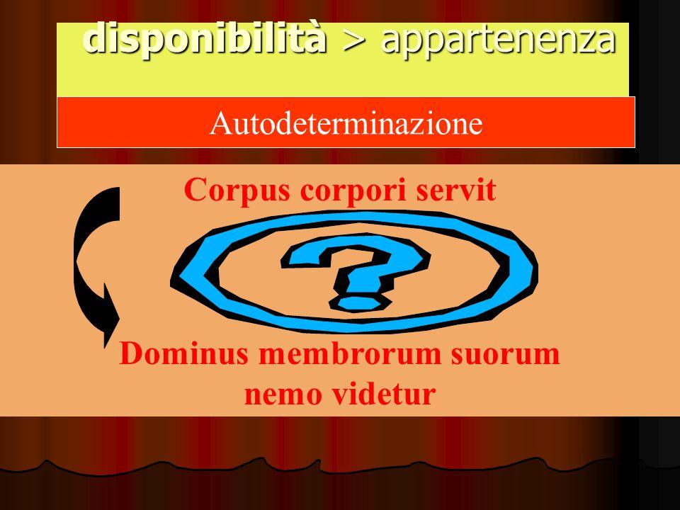 disponibilità > appartenenza disponibilità > appartenenza Autodeterminazione Corpus corpori servit Dominus membrorum suorum nemo videtur