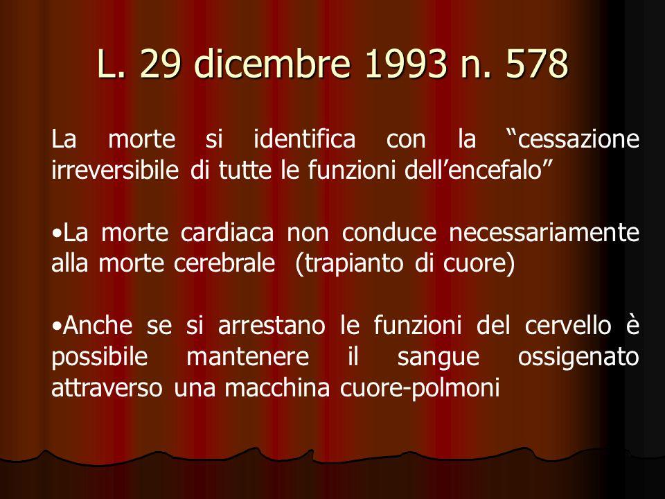 """L. 29 dicembre 1993 n. 578 La morte si identifica con la """"cessazione irreversibile di tutte le funzioni dell'encefalo"""" La morte cardiaca non conduce n"""