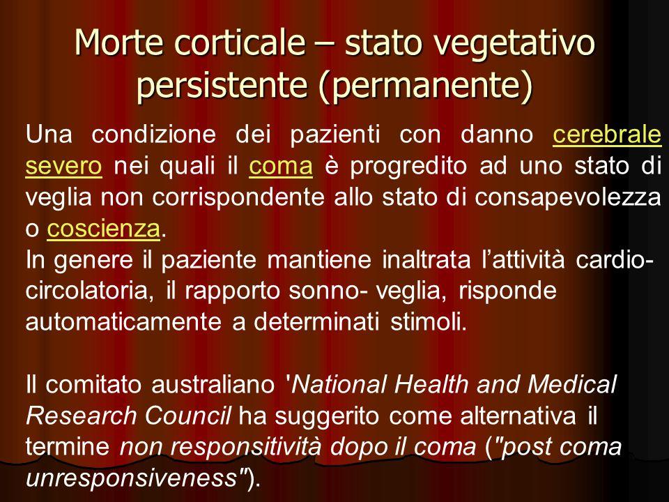 Morte corticale – stato vegetativo persistente (permanente) Una condizione dei pazienti con danno cerebrale severo nei quali il coma è progredito ad u