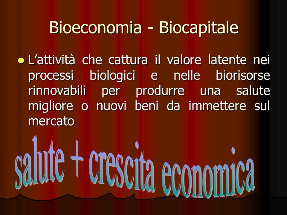 Bioeconomia - Biocapitale L'attività che cattura il valore latente nei processi biologici e nelle biorisorse rinnovabili per produrre una salute migli