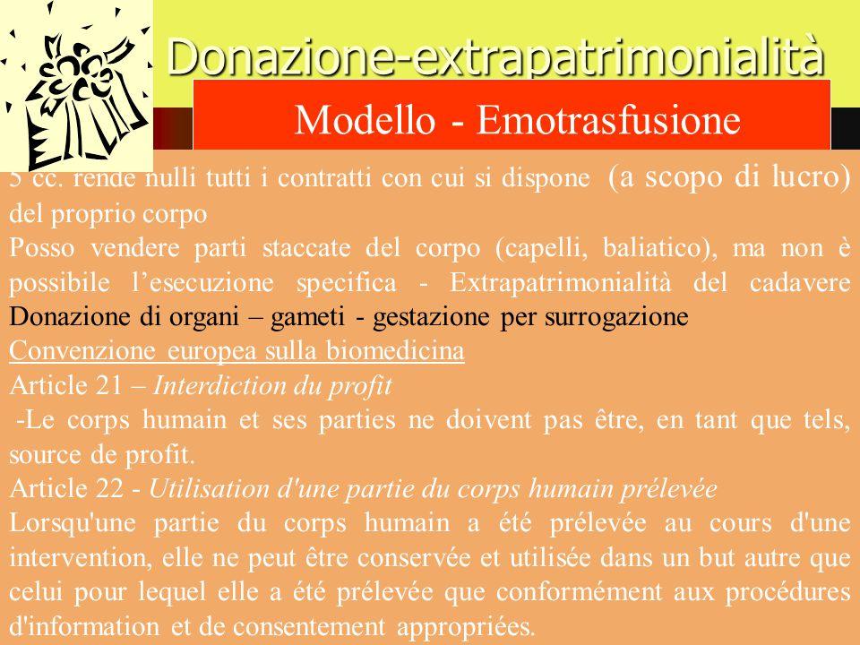 Donazione-extrapatrimonialità Modello - Emotrasfusione 5 cc. rende nulli tutti i contratti con cui si dispone (a scopo di lucro) del proprio corpo Pos