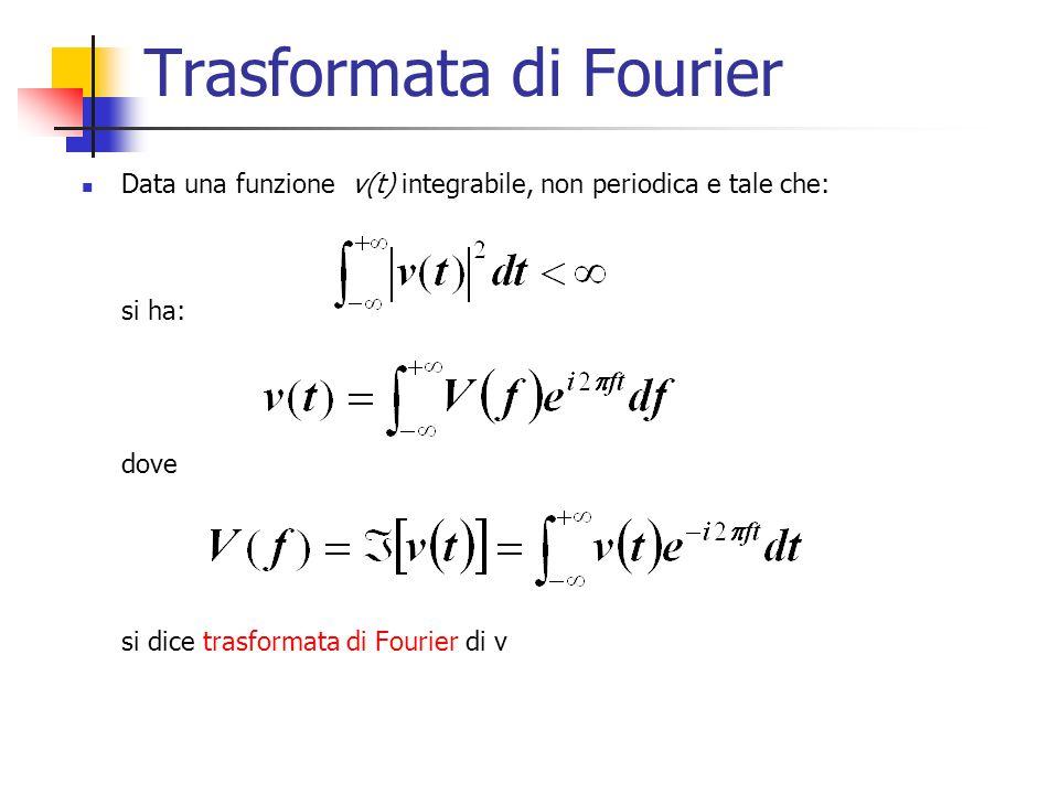 Trasformata di Fourier Data una funzione v(t) integrabile, non periodica e tale che: si ha: dove si dice trasformata di Fourier di v