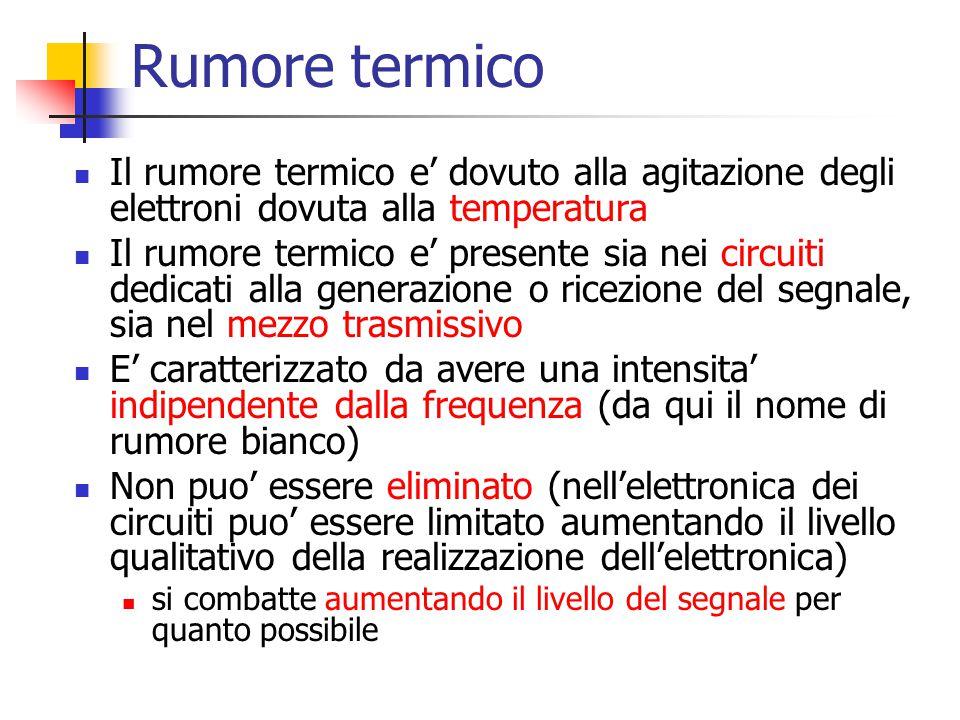 Rumore termico Il rumore termico e' dovuto alla agitazione degli elettroni dovuta alla temperatura Il rumore termico e' presente sia nei circuiti dedi
