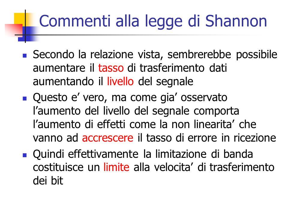 Commenti alla legge di Shannon Secondo la relazione vista, sembrerebbe possibile aumentare il tasso di trasferimento dati aumentando il livello del se