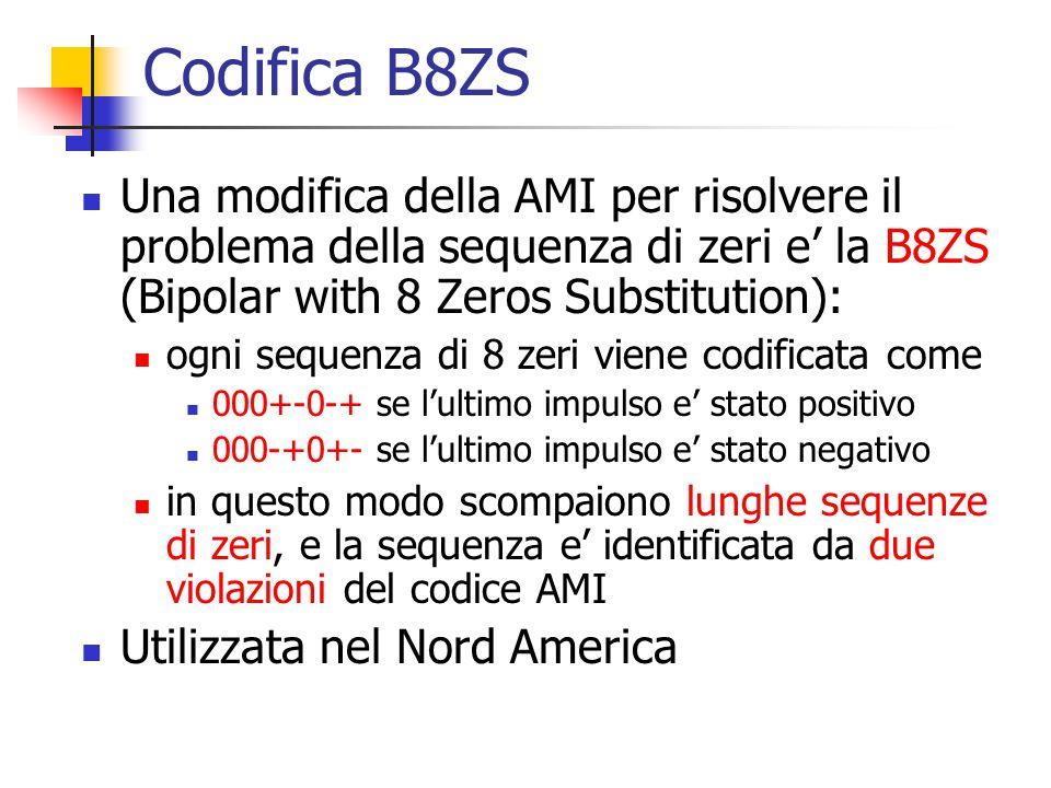 Codifica B8ZS Una modifica della AMI per risolvere il problema della sequenza di zeri e' la B8ZS (Bipolar with 8 Zeros Substitution): ogni sequenza di