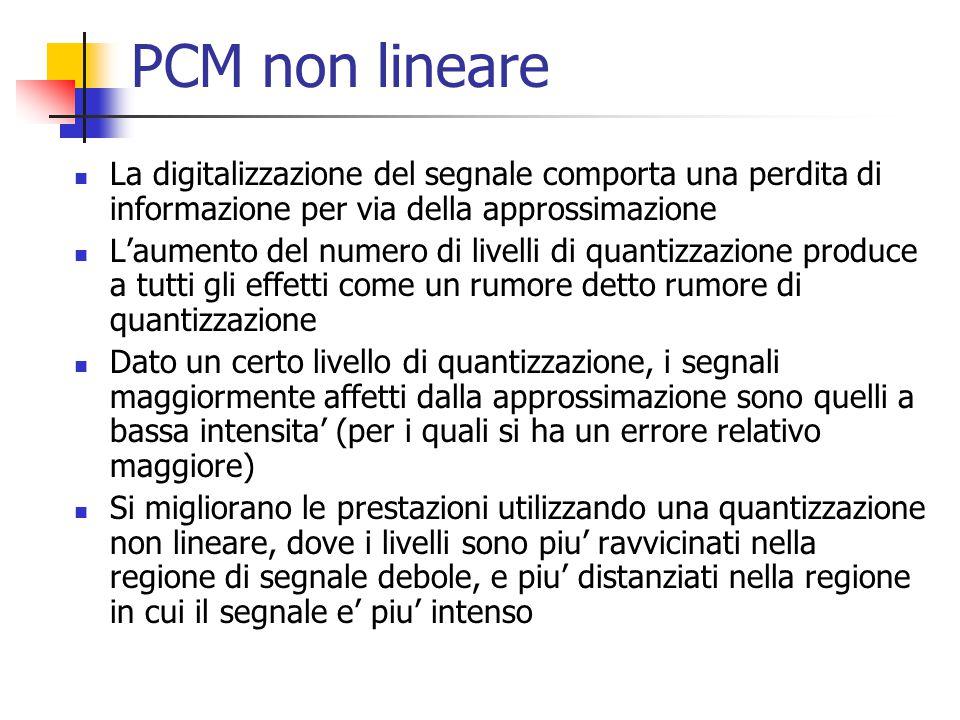 PCM non lineare La digitalizzazione del segnale comporta una perdita di informazione per via della approssimazione L'aumento del numero di livelli di