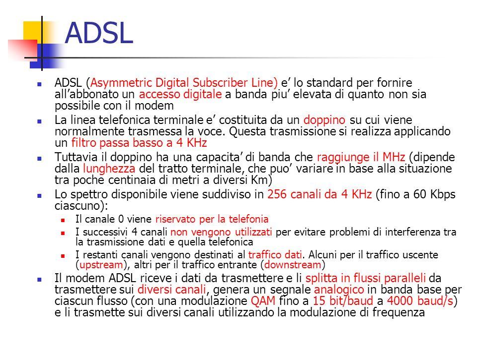 ADSL ADSL (Asymmetric Digital Subscriber Line) e' lo standard per fornire all'abbonato un accesso digitale a banda piu' elevata di quanto non sia poss