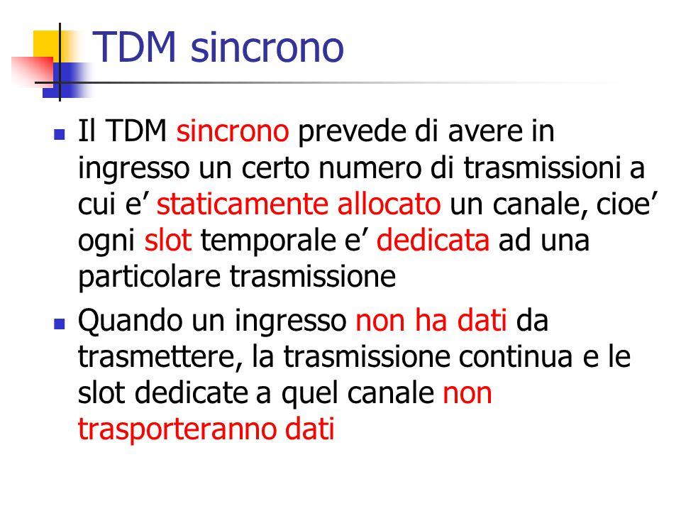 TDM sincrono Il TDM sincrono prevede di avere in ingresso un certo numero di trasmissioni a cui e' staticamente allocato un canale, cioe' ogni slot te