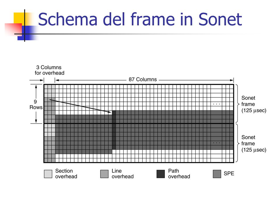 Schema del frame in Sonet