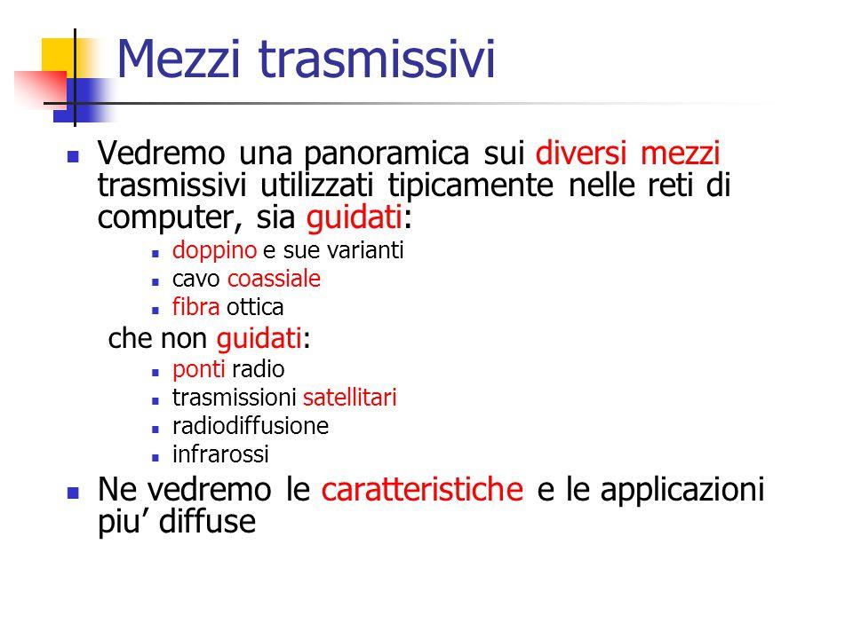 Mezzi trasmissivi Vedremo una panoramica sui diversi mezzi trasmissivi utilizzati tipicamente nelle reti di computer, sia guidati: doppino e sue varia