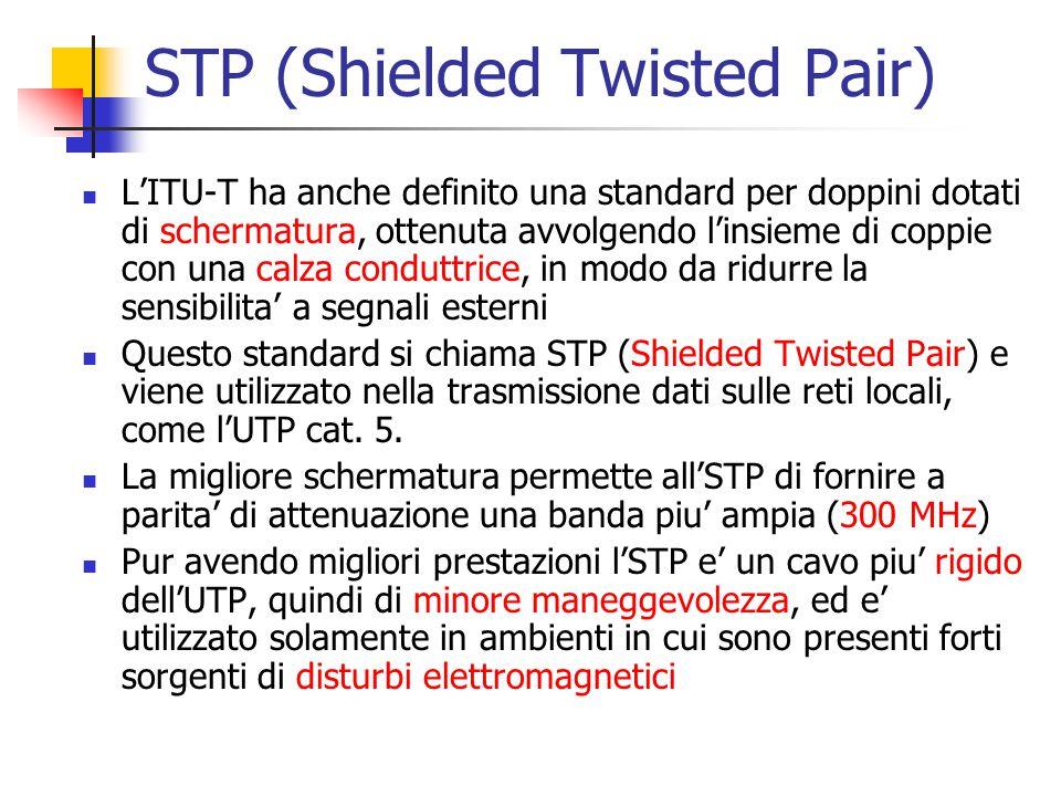 STP (Shielded Twisted Pair) L'ITU-T ha anche definito una standard per doppini dotati di schermatura, ottenuta avvolgendo l'insieme di coppie con una