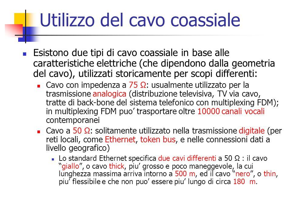 Utilizzo del cavo coassiale Esistono due tipi di cavo coassiale in base alle caratteristiche elettriche (che dipendono dalla geometria del cavo), util