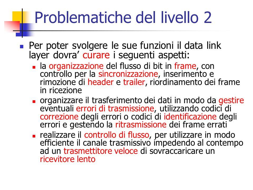 Problematiche del livello 2 Per poter svolgere le sue funzioni il data link layer dovra' curare i seguenti aspetti: la organizzazione del flusso di bi