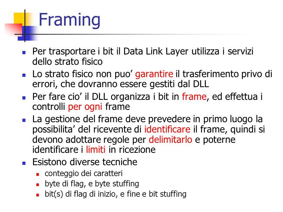 Framing Per trasportare i bit il Data Link Layer utilizza i servizi dello strato fisico Lo strato fisico non puo' garantire il trasferimento privo di