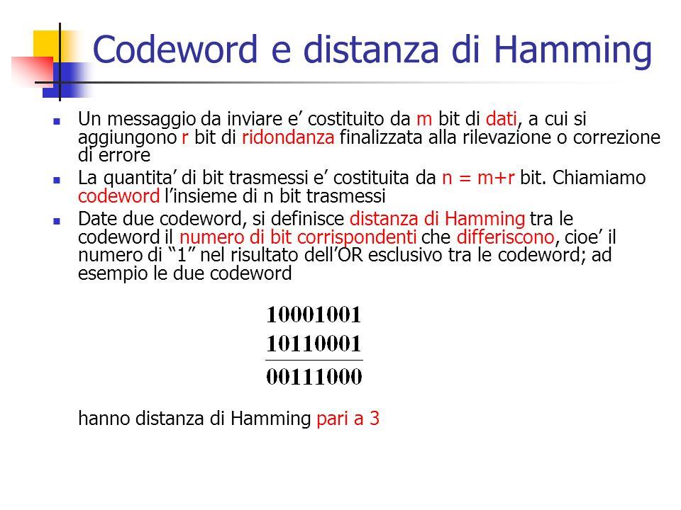 Codeword e distanza di Hamming Un messaggio da inviare e' costituito da m bit di dati, a cui si aggiungono r bit di ridondanza finalizzata alla rileva