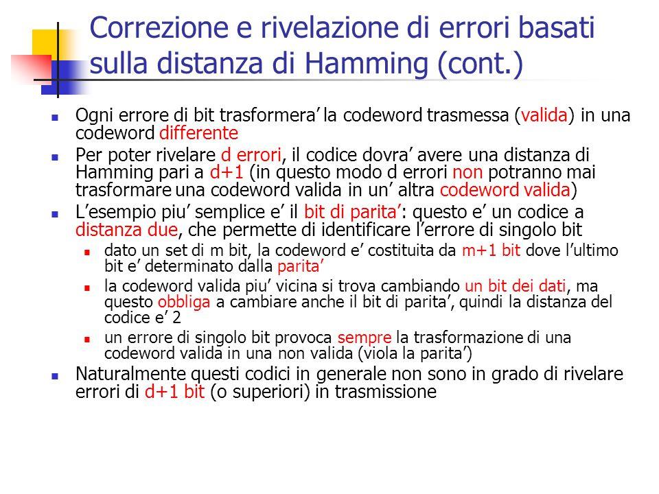 Correzione e rivelazione di errori basati sulla distanza di Hamming (cont.) Ogni errore di bit trasformera' la codeword trasmessa (valida) in una code