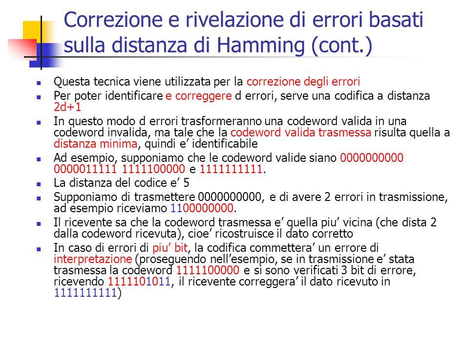 Correzione e rivelazione di errori basati sulla distanza di Hamming (cont.) Questa tecnica viene utilizzata per la correzione degli errori Per poter i