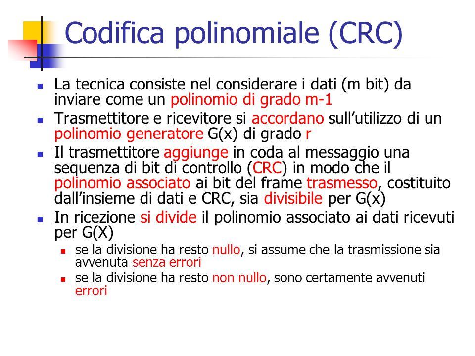 Codifica polinomiale (CRC) La tecnica consiste nel considerare i dati (m bit) da inviare come un polinomio di grado m-1 Trasmettitore e ricevitore si