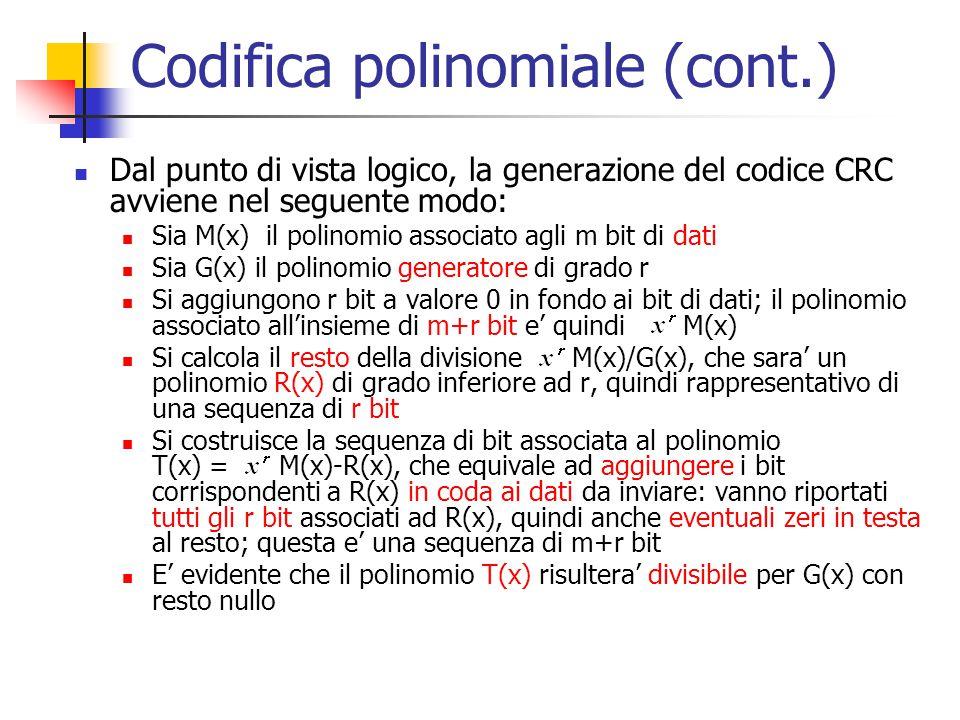 Codifica polinomiale (cont.) Dal punto di vista logico, la generazione del codice CRC avviene nel seguente modo: Sia M(x) il polinomio associato agli