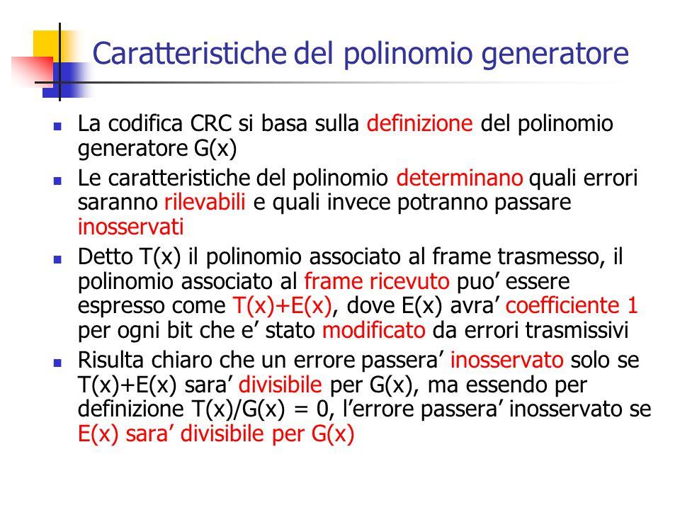 Caratteristiche del polinomio generatore La codifica CRC si basa sulla definizione del polinomio generatore G(x) Le caratteristiche del polinomio dete