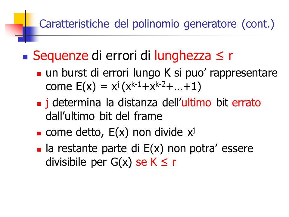 Caratteristiche del polinomio generatore (cont.) Sequenze di errori di lunghezza ≤ r un burst di errori lungo K si puo' rappresentare come E(x) = x j
