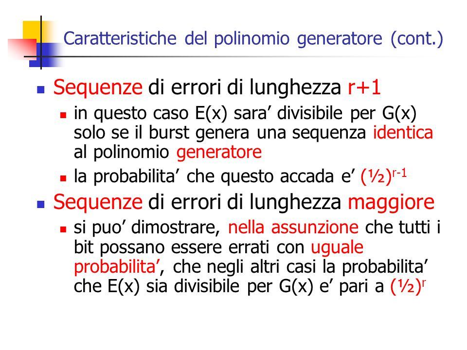 Caratteristiche del polinomio generatore (cont.) Sequenze di errori di lunghezza r+1 in questo caso E(x) sara' divisibile per G(x) solo se il burst ge