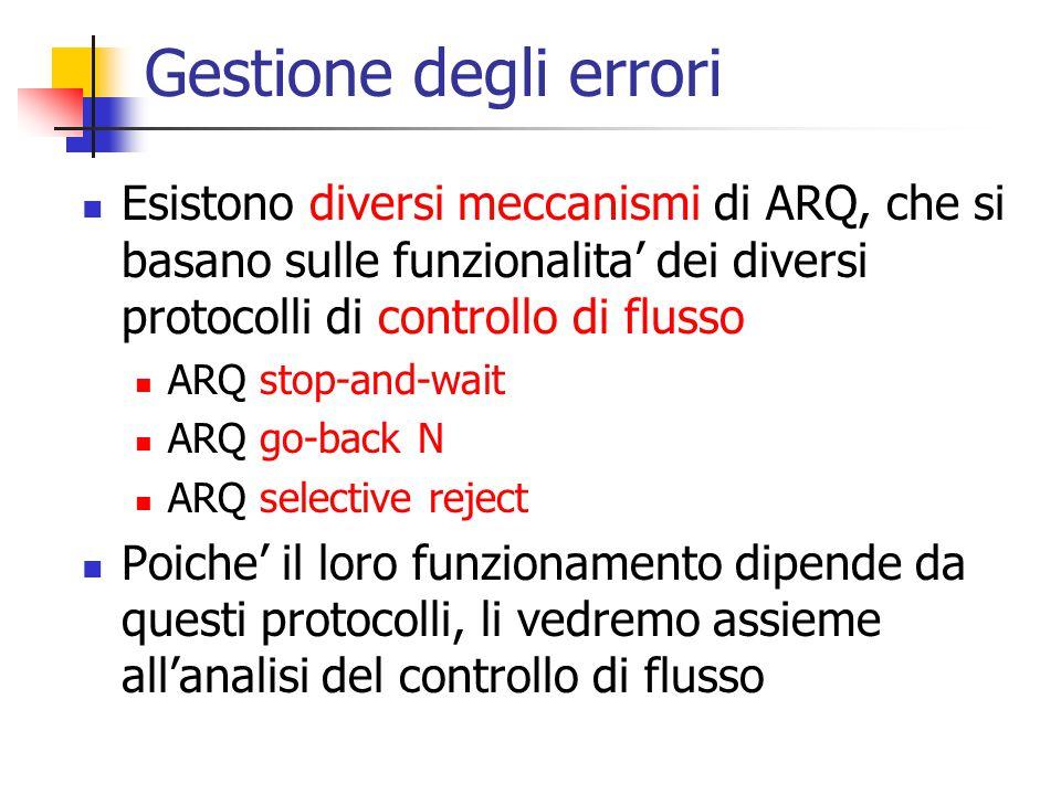 Gestione degli errori Esistono diversi meccanismi di ARQ, che si basano sulle funzionalita' dei diversi protocolli di controllo di flusso ARQ stop-and