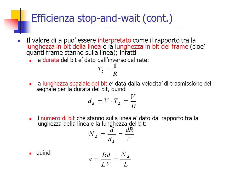 Il valore di a puo' essere interpretato come il rapporto tra la lunghezza in bit della linea e la lunghezza in bit del frame (cioe' quanti frame stann