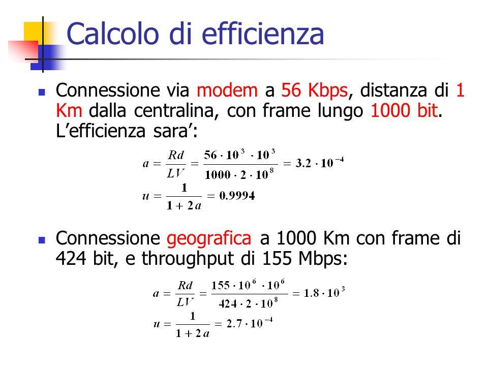 Calcolo di efficienza Connessione via modem a 56 Kbps, distanza di 1 Km dalla centralina, con frame lungo 1000 bit. L'efficienza sara': Connessione ge