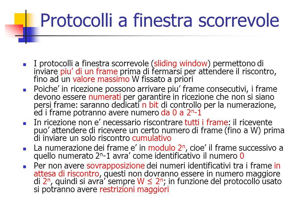 Protocolli a finestra scorrevole I protocolli a finestra scorrevole (sliding window) permettono di inviare piu' di un frame prima di fermarsi per atte
