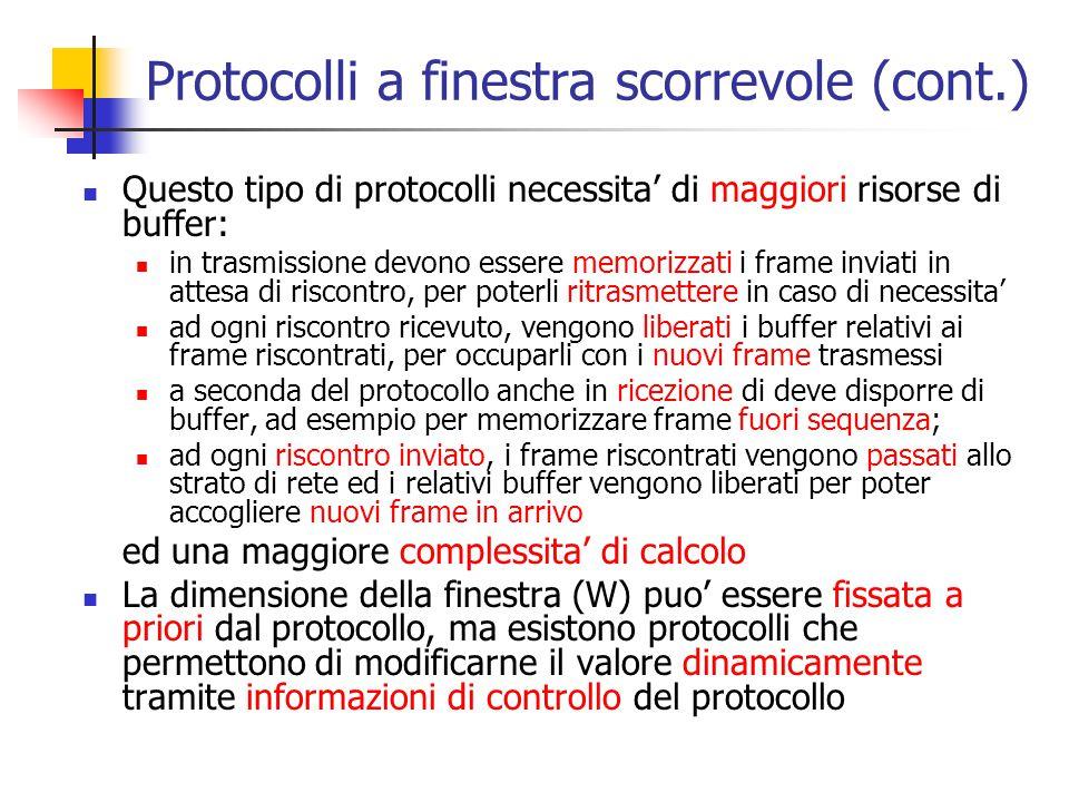Protocolli a finestra scorrevole (cont.) Questo tipo di protocolli necessita' di maggiori risorse di buffer: in trasmissione devono essere memorizzati