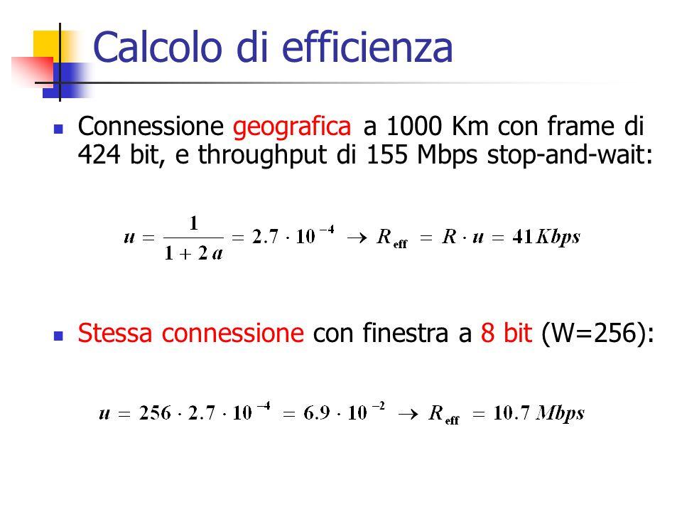 Calcolo di efficienza Connessione geografica a 1000 Km con frame di 424 bit, e throughput di 155 Mbps stop-and-wait: Stessa connessione con finestra a