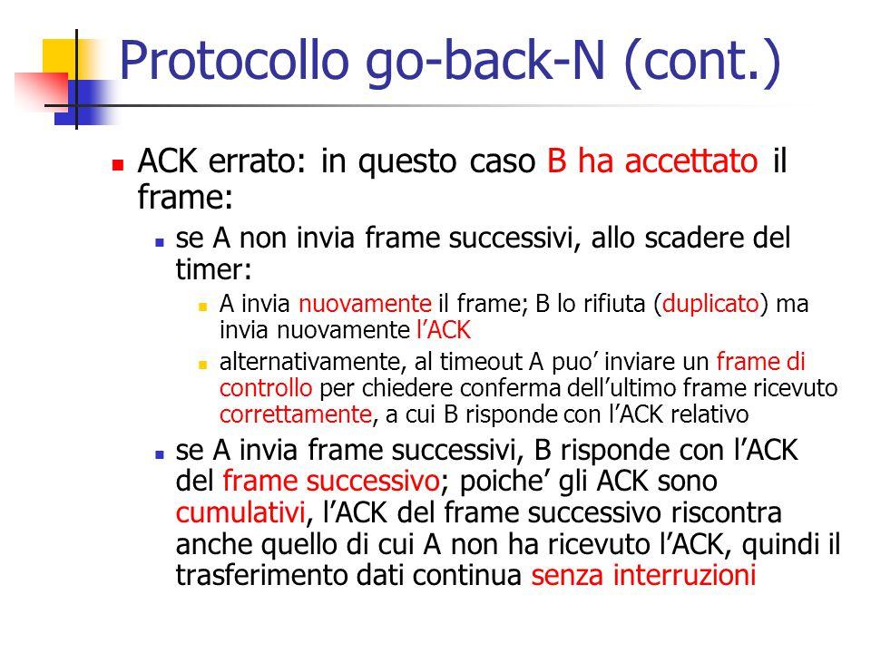 Protocollo go-back-N (cont.) ACK errato: in questo caso B ha accettato il frame: se A non invia frame successivi, allo scadere del timer: A invia nuov