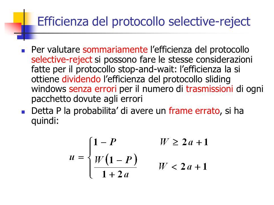 Efficienza del protocollo selective-reject Per valutare sommariamente l'efficienza del protocollo selective-reject si possono fare le stesse considera