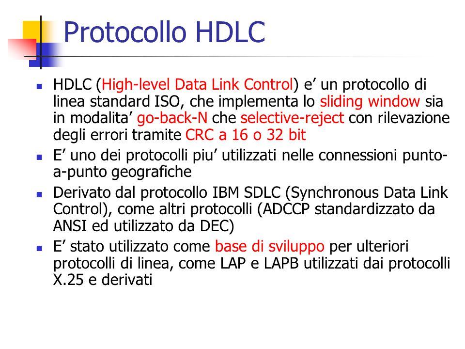 Protocollo HDLC HDLC (High-level Data Link Control) e' un protocollo di linea standard ISO, che implementa lo sliding window sia in modalita' go-back-