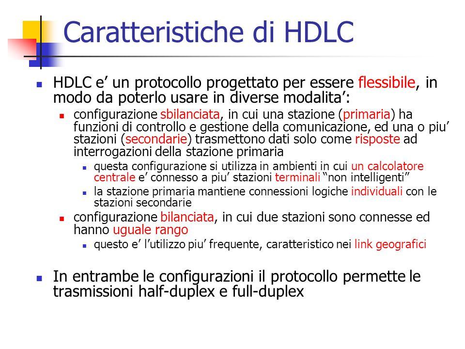 Caratteristiche di HDLC HDLC e' un protocollo progettato per essere flessibile, in modo da poterlo usare in diverse modalita': configurazione sbilanci