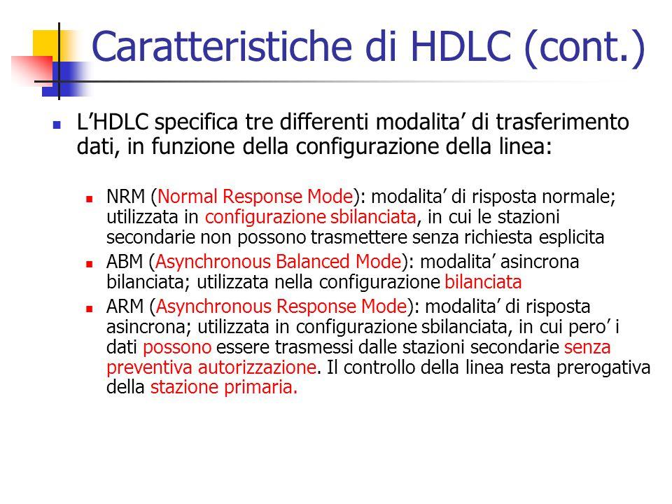 Caratteristiche di HDLC (cont.) L'HDLC specifica tre differenti modalita' di trasferimento dati, in funzione della configurazione della linea: NRM (No