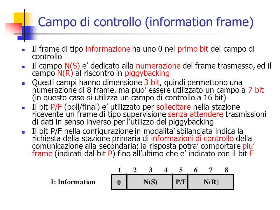 Campo di controllo (information frame) Il frame di tipo informazione ha uno 0 nel primo bit del campo di controllo Il campo N(S) e' dedicato alla nume
