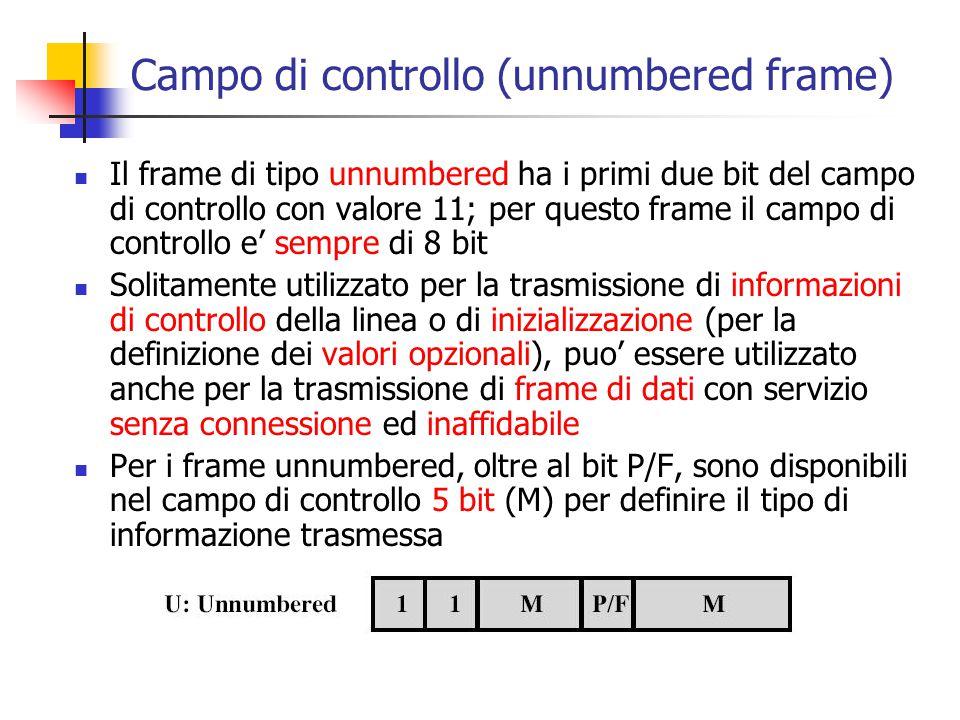 Campo di controllo (unnumbered frame) Il frame di tipo unnumbered ha i primi due bit del campo di controllo con valore 11; per questo frame il campo d