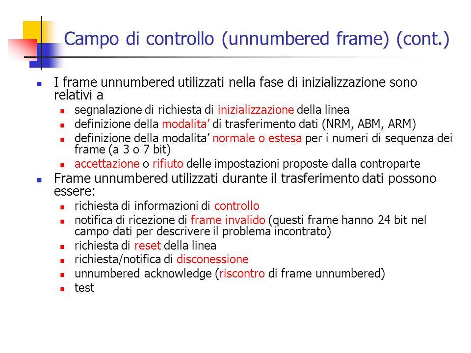 Campo di controllo (unnumbered frame) (cont.) I frame unnumbered utilizzati nella fase di inizializzazione sono relativi a segnalazione di richiesta d