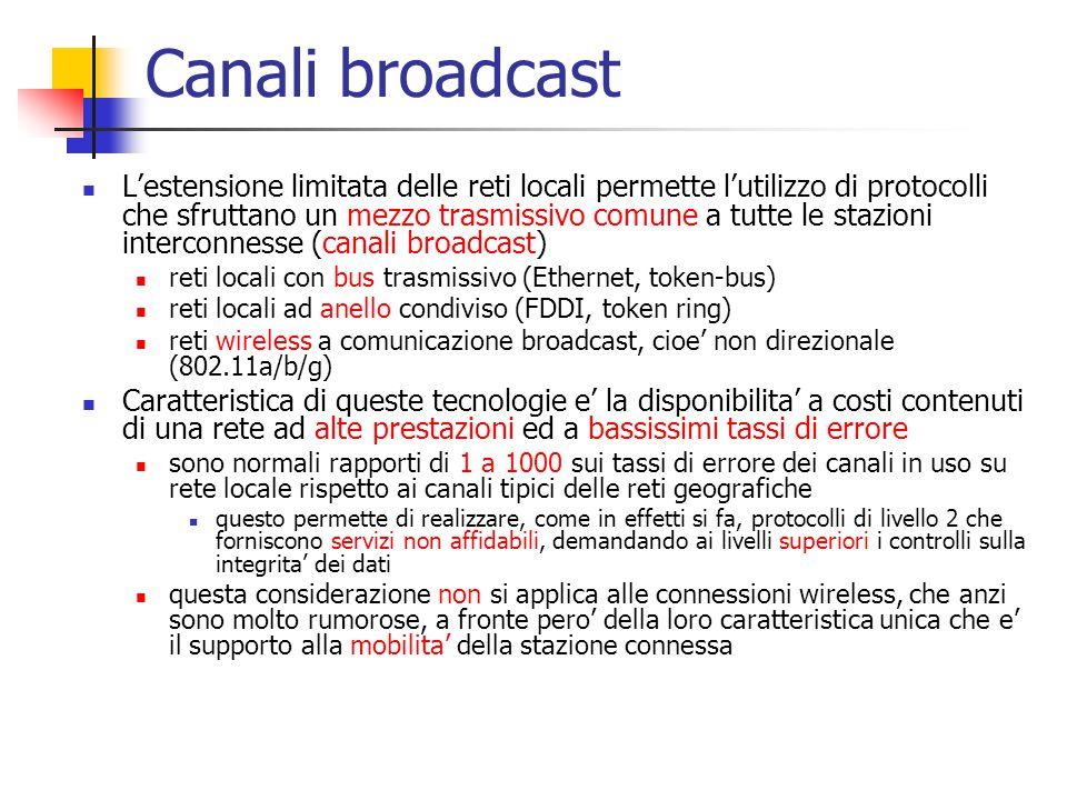 Canali broadcast L'estensione limitata delle reti locali permette l'utilizzo di protocolli che sfruttano un mezzo trasmissivo comune a tutte le stazio
