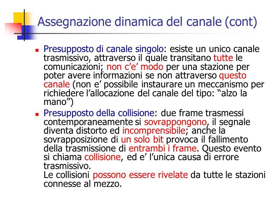 Assegnazione dinamica del canale (cont) Presupposto di canale singolo: esiste un unico canale trasmissivo, attraverso il quale transitano tutte le com