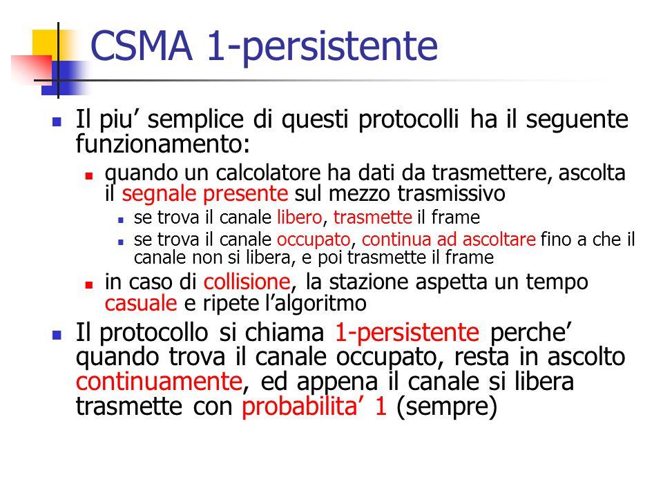 CSMA 1-persistente Il piu' semplice di questi protocolli ha il seguente funzionamento: quando un calcolatore ha dati da trasmettere, ascolta il segnal