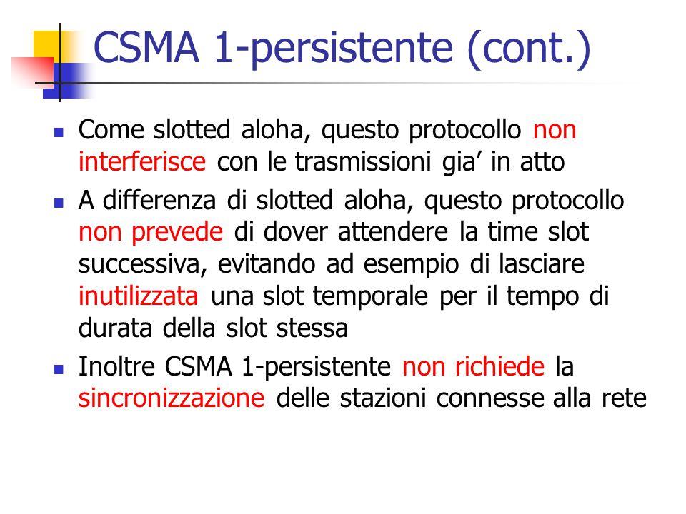 CSMA 1-persistente (cont.) Come slotted aloha, questo protocollo non interferisce con le trasmissioni gia' in atto A differenza di slotted aloha, ques