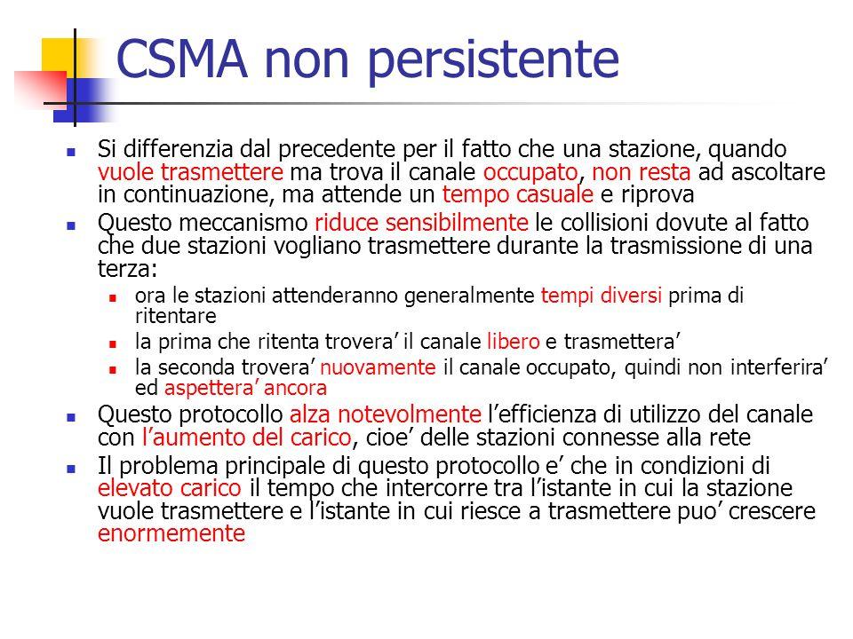 CSMA non persistente Si differenzia dal precedente per il fatto che una stazione, quando vuole trasmettere ma trova il canale occupato, non resta ad a