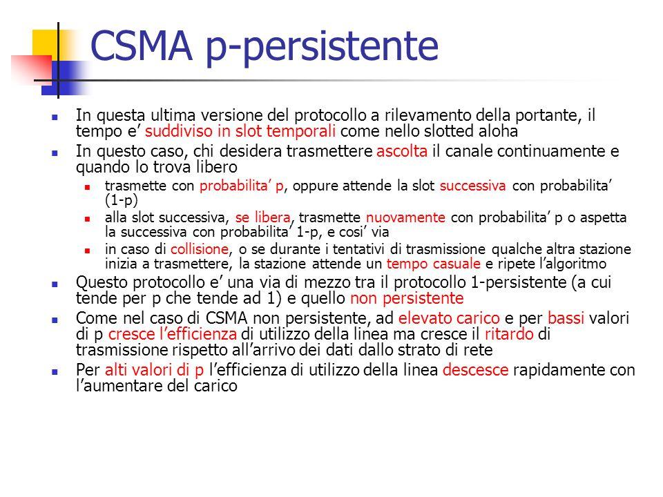 CSMA p-persistente In questa ultima versione del protocollo a rilevamento della portante, il tempo e' suddiviso in slot temporali come nello slotted a